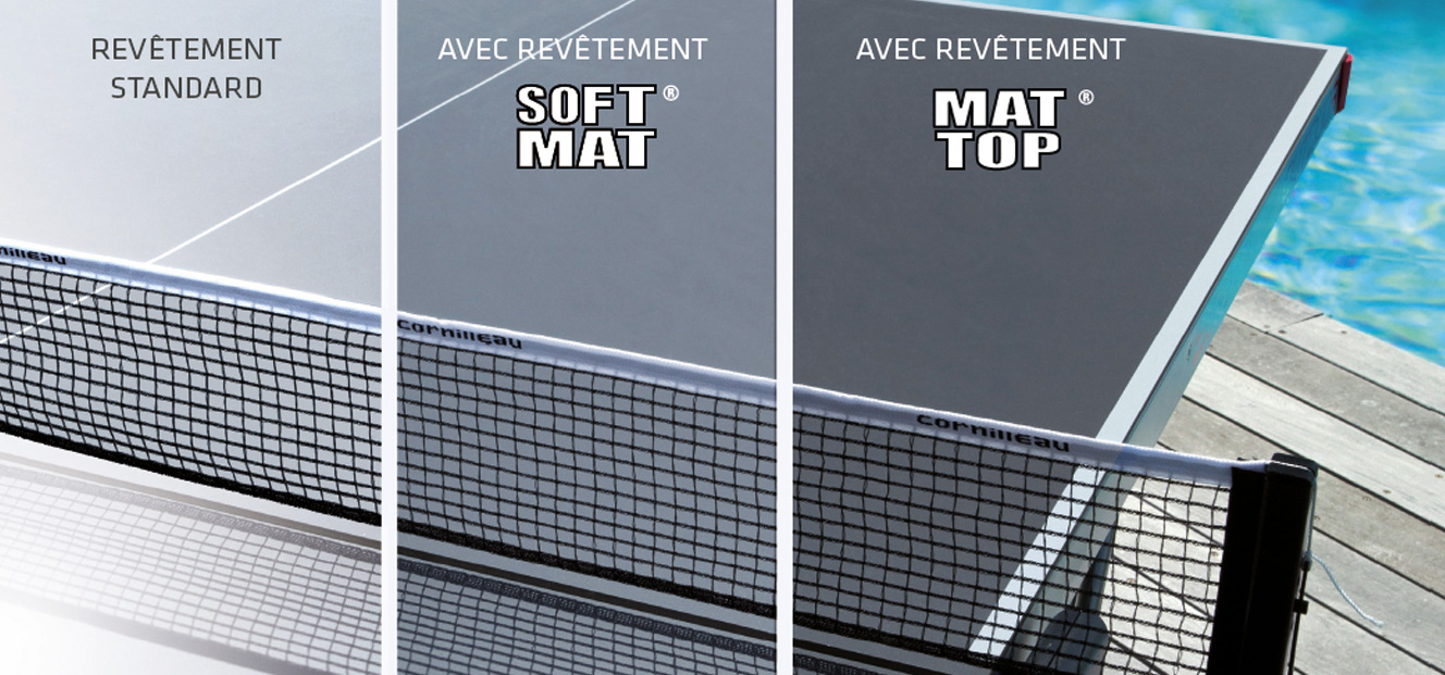 finition anti-reflet plateau table de ping pong Cornilleau